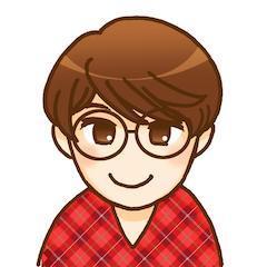 篠田さんの似顔絵イラスト。ショートカットで眼鏡をかけています。